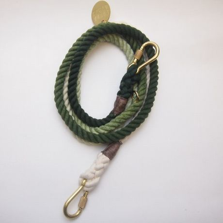 Found My Animal OLIVE OMBRE ROPE DOG LEASH, ADJUSTABLE new model