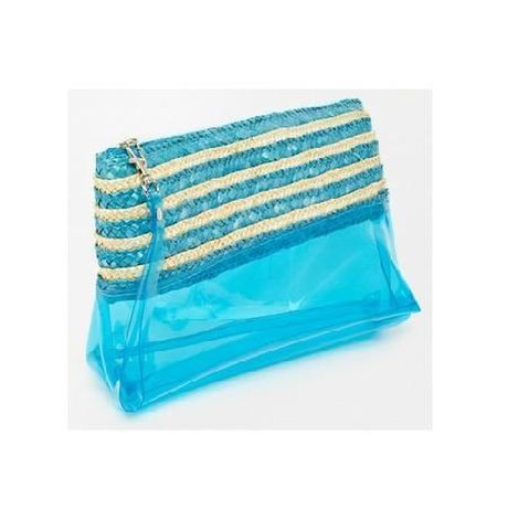 Carpisa Blue Plastic And Straw Mix Clutch