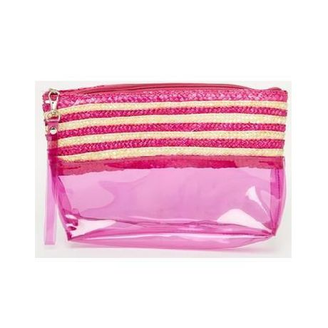 Carpisa Pink Plastic And Straw Mix Clutch