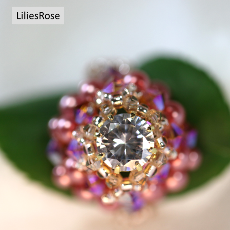 Rose pearly and diamondly ring