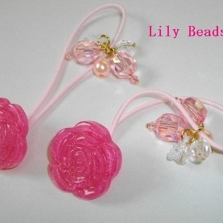 Lily Beads ビーズゴム、バラ濃いピンク2個セット