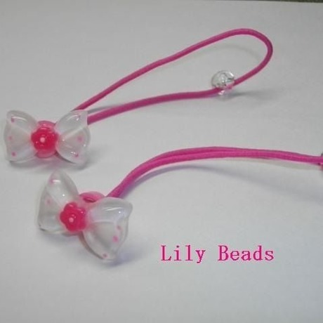 Lily Beads プラゴム花付きクリアドットリボン白ピンク(2個入)