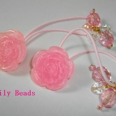 Lily Beads ビーズゴム、バラうすピンク2個セット