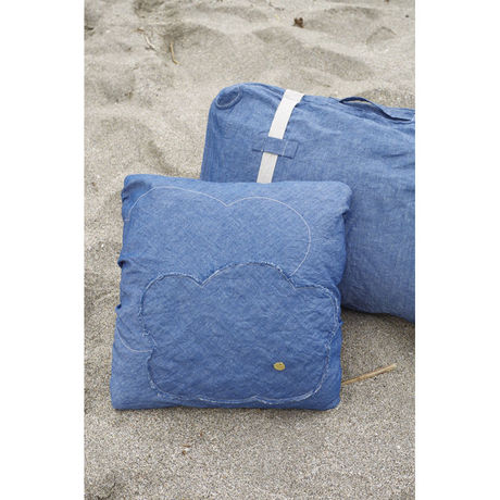 PATCH WORK CUSHION COVER(SQUAE)-COTTON LINEN INDIGO CHAMBRAY