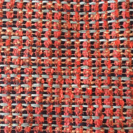 LINTON TWEED/orange coral and blue fabric