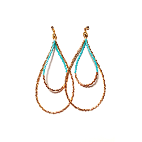 Beads hoop pierce <turquoise gold>