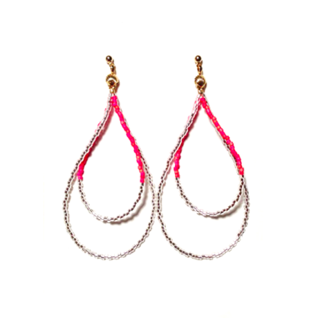 Beads hoop pierce <mix red silver>