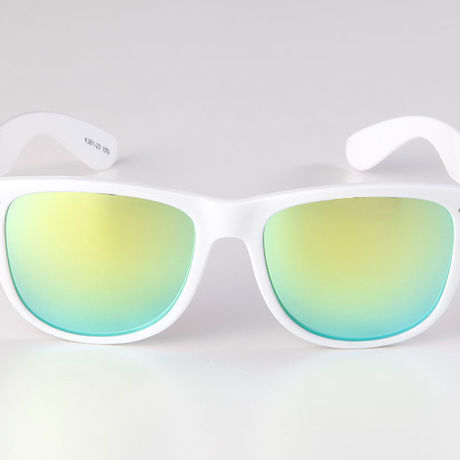 """Livly """"Funk"""" White Frame / Green Mirror Sunglass"""