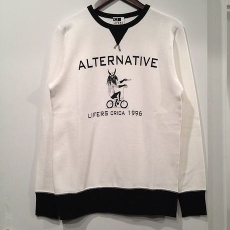 """LIFERS L-002 """"ALTANA B&H"""" SWEAT (CREAM/BLACK)"""