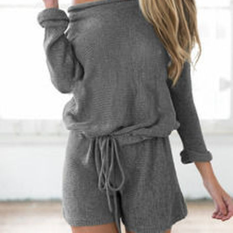 California breeze  R / Grey Long Sleeve Lace Up Playsuit