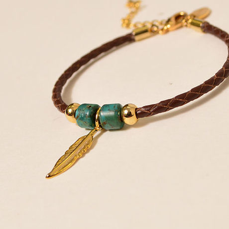 Leather turquoise bracelet