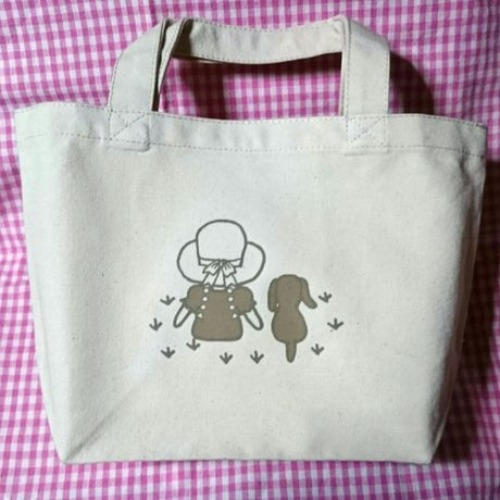 """Small Tote Bag """"Friends (Grassland)"""" / Natural"""