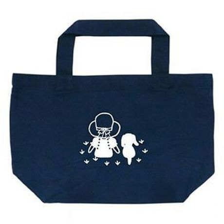 """Small Tote Bag """"Friends (Grassland)"""" / Navy"""