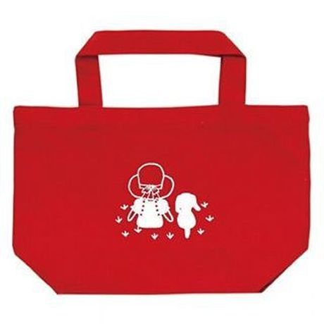 """Small Tote Bag """"Friends (Grassland)"""" / Red"""