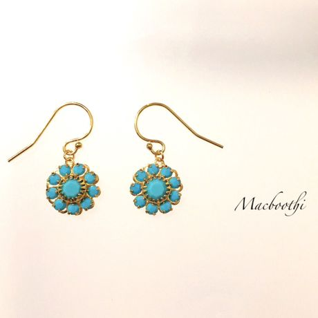 Flower hook pierce (14kgf) / turquoise