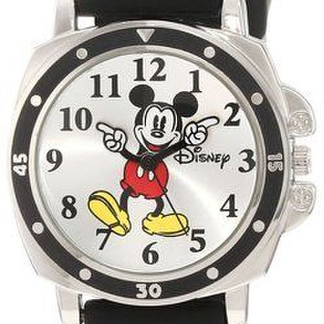 【並行輸入】Disney ミッキーマウスの腕時計 Kids' MK1080 Mickey Mouse Black Rubber Strap Watch