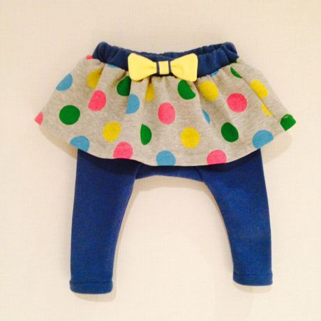 Polka dot skirt with leggings (Blue)