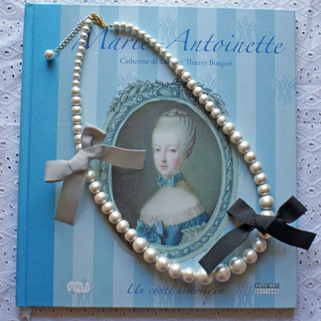 Cottonpearl & Ribbon Necklace BK/BGR