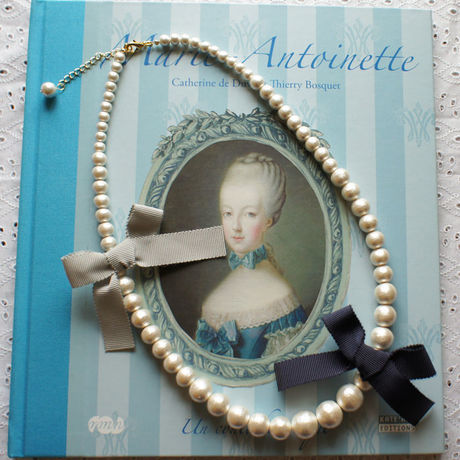 Cottonpearl & Ribbon Necklace NV/BGR