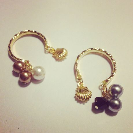 shell×pearl ring