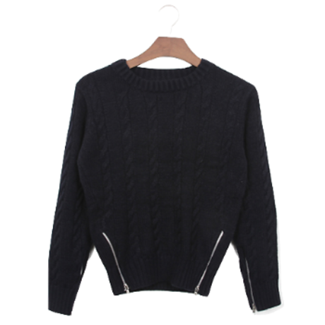 zipper navy knit