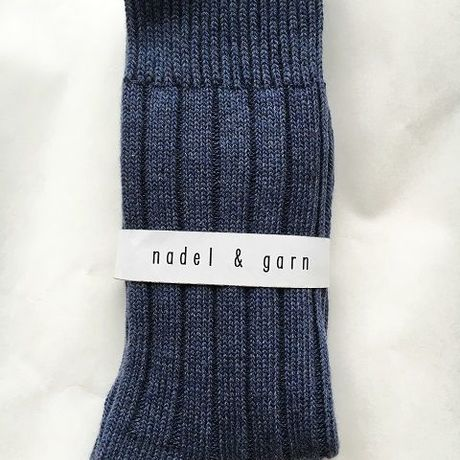 Women's HEATHER RIB SOCKS (BLUE)