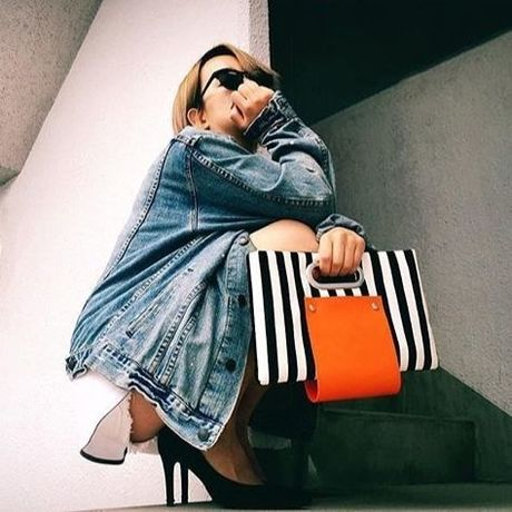 stripe leather handbag     C125