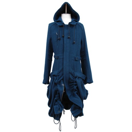 """【Last1】Double Hooded Long Coat """"Blue"""""""