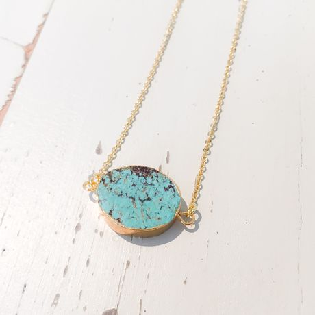 mo621 turquoise stone neckless