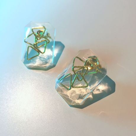 triangle square pierced earrings