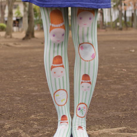 drawing print tights『mademoiselle』