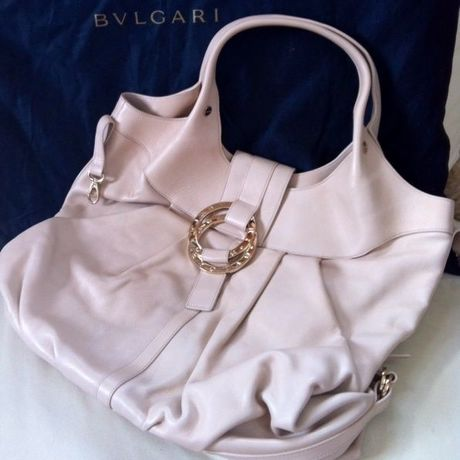 Bvlgari Chandra Leather Bag -Beige-