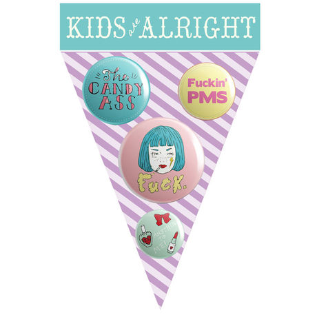 """KIDS ARE ALRIGHT Button Badges """"GIRL""""Blue"""