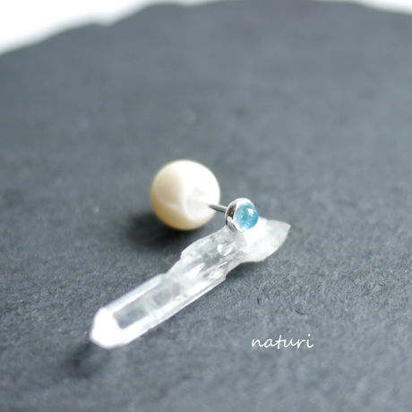 【noix】blue topaz sv925 pierce with pearl catch (1pc)