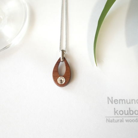 Timber  necklace (Swarovski)「Water drop」type2