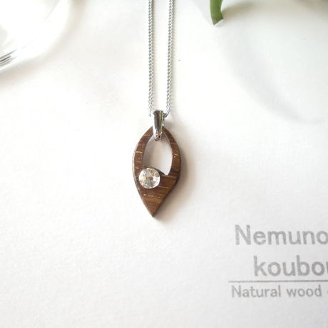 Timber  necklace (Swarovski)「Leaf」