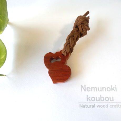 Wood charm 「Twin Heart」