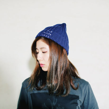 RAD BLACK CULT rib knit cap navyblue
