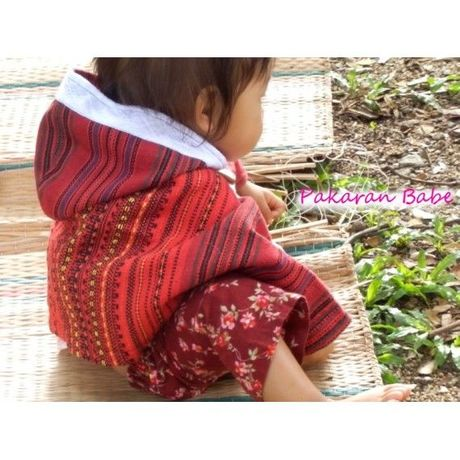 Baby Poncho Jacket Cape with Hood /Asian Fabric Matching Outfit Mom and Baby girl