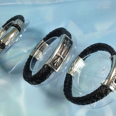 Bracelet for MEN (silver & leather)