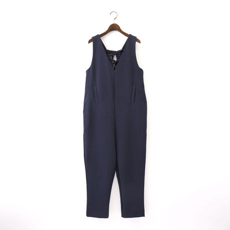 1510-04-104 Double Cloth Deep V-Neck Jumpsuit