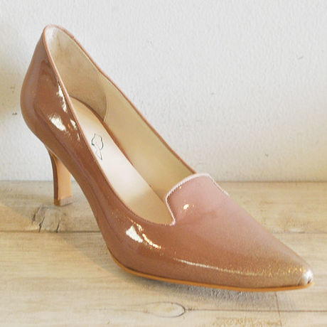 kanarian POINTED TOE LAME PUMPS KI-7084A PATENT BEIGE