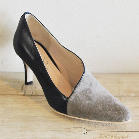 kanarian COMBI PUMPS KI-7074A SMOOTH NAVY SUEDE GRAY