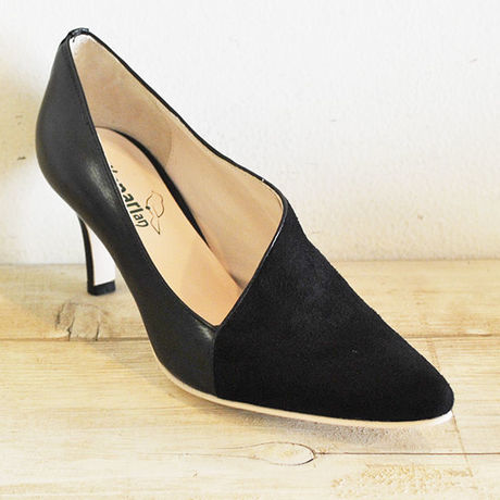 kanarian COMBI PUMPS KI-7074A SUEDE BLACK SMOOTH BLACK