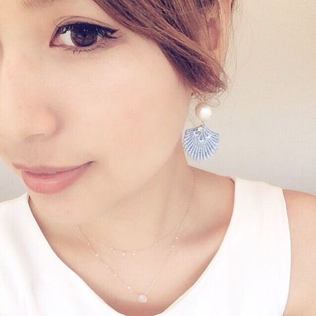 Shell lace × cotton pearl earrings