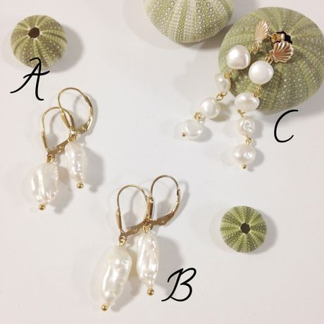 Simple water pearl earrings A, B