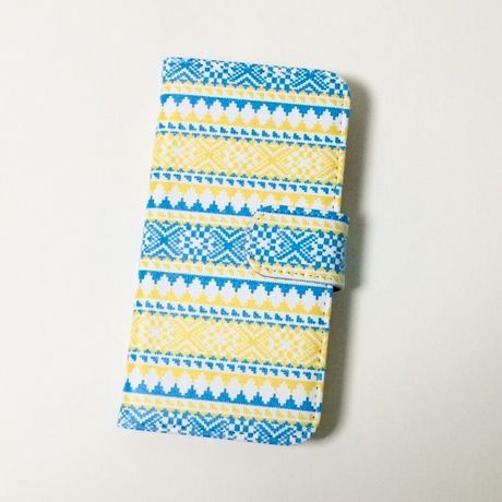 手帳型iPhoneケース Repeating Kilim Blue
