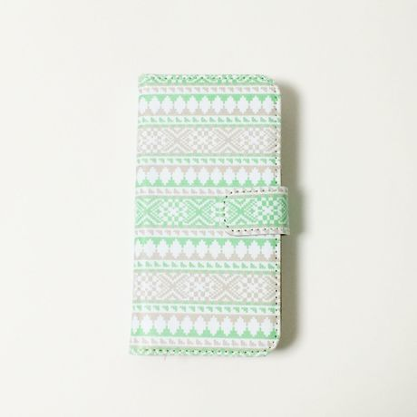 手帳型iPhoneケース Repeating Kilim Green