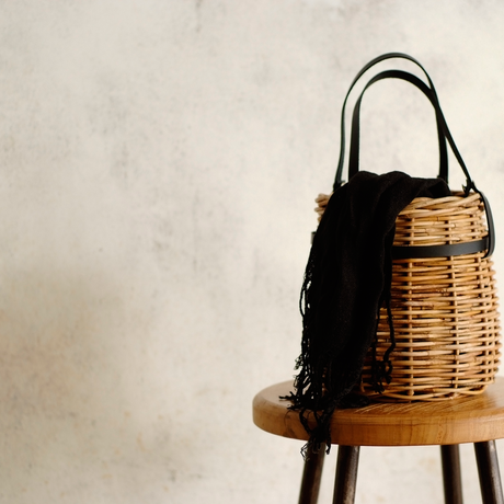 【予約】Leather Handle Basket