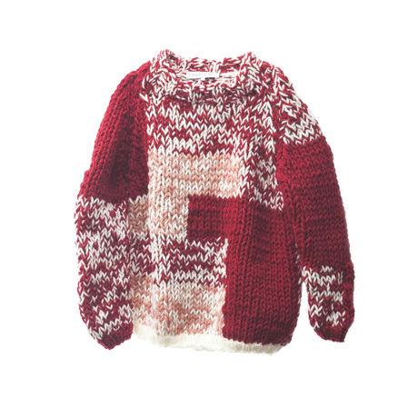 HAND-KNITED PATCH WORK SWEATER